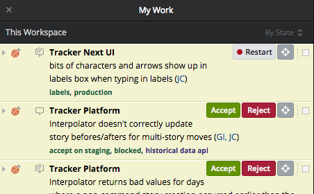 The My Work panel in Pivotal Tracker