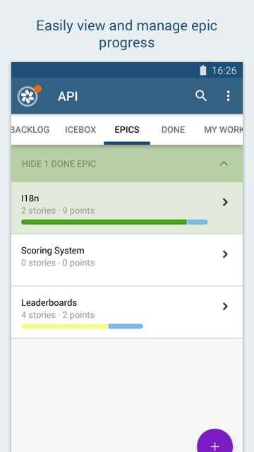 Screenshot showing how to manage epics in the Pivotal Tracker Android app.