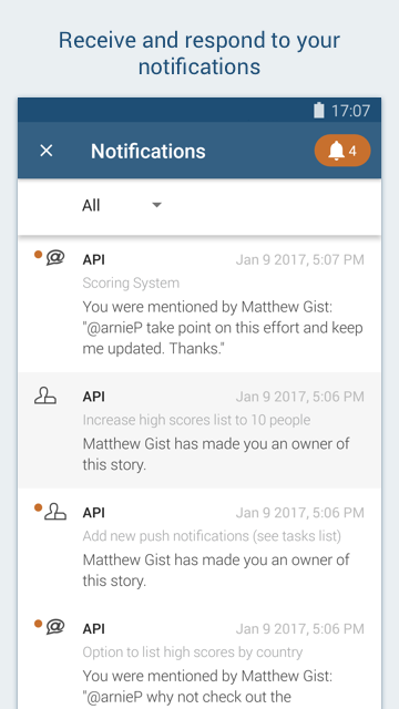 Screenshot showing how to filter notifications in the Pivotal Tracker Android app.
